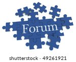 3D rendering of a forming puzzle with the word Forum - stock photo