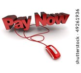 Word Pay Now, in red connected to a computer mouse - stock photo