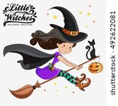 little witch. halloween witch.... | Shutterstock .eps vector #492622081