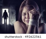 young woman victim of domestic... | Shutterstock . vector #492622561