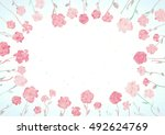 watercolor wreath frame with... | Shutterstock .eps vector #492624769