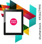 tablet pc icon with geometric... | Shutterstock .eps vector #492627994