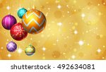 gold christmas background with... | Shutterstock . vector #492634081