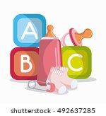 baby bottle socks cubes and... | Shutterstock .eps vector #492637285