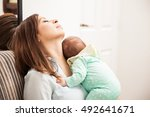 woman feeling exhausted of... | Shutterstock . vector #492641671