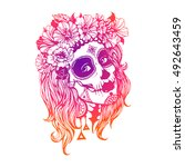 girl with day of the dead...   Shutterstock .eps vector #492643459