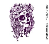 girl with day of the dead... | Shutterstock .eps vector #492643489