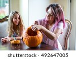 mother and daughter carving... | Shutterstock . vector #492647005