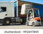 loading works. forklift with... | Shutterstock . vector #492647845
