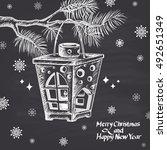 black and white christmas... | Shutterstock .eps vector #492651349