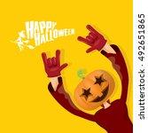 happy halloween vector creative ... | Shutterstock .eps vector #492651865
