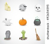 halloween icon set isolated on... | Shutterstock .eps vector #492654595