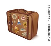 old vintage leather suitcase... | Shutterstock .eps vector #492655489