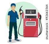 gas station worker holding... | Shutterstock .eps vector #492661564