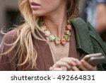 milan   september 22  woman... | Shutterstock . vector #492664831