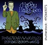 cartoon frankenstein vector.... | Shutterstock .eps vector #492665071