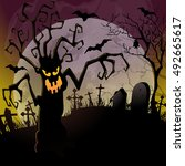 halloween background with a... | Shutterstock . vector #492665617