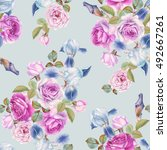floral seamless pattern with... | Shutterstock . vector #492667261
