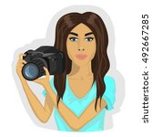 cute girl with camera. vector | Shutterstock .eps vector #492667285