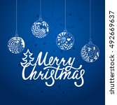 merry christmas. handdrawn... | Shutterstock .eps vector #492669637
