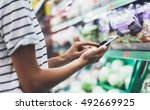 woman shopping healthy food in... | Shutterstock . vector #492669925