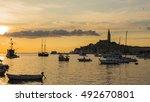 croatian coast  the port of... | Shutterstock . vector #492670801