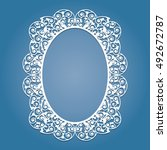 oval frame with lace pattern.... | Shutterstock .eps vector #492672787