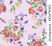 floral seamless pattern with... | Shutterstock . vector #492679201