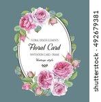 vintage floral greeting card... | Shutterstock . vector #492679381