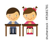 the students sit at a desk.... | Shutterstock .eps vector #492681781