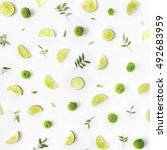 lime and green branches pattern ... | Shutterstock . vector #492683959
