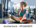 portrait of pretty fit girl in... | Shutterstock . vector #492684805