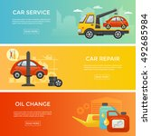 car service banner set  vector... | Shutterstock .eps vector #492685984