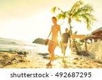 blurred defocused silhouette of ... | Shutterstock . vector #492687295