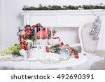 festively served table for the ... | Shutterstock . vector #492690391