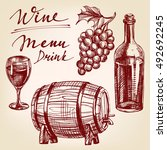 collection wine  hand drawn... | Shutterstock .eps vector #492692245