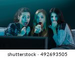 teenage girls watching horror... | Shutterstock . vector #492693505