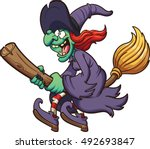 crazy cartoon witch flying on... | Shutterstock .eps vector #492693847