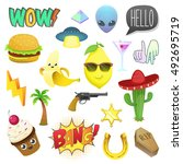fashion patch badges isolated... | Shutterstock .eps vector #492695719