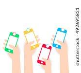 white flat hands holding phone... | Shutterstock .eps vector #492695821