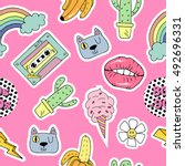 seamless pattern with cartoon... | Shutterstock .eps vector #492696331