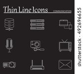 communication line icons set ...