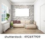 modern bright interior . 3d... | Shutterstock . vector #492697909