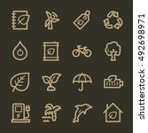 ecology web icons.  green... | Shutterstock .eps vector #492698971