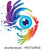 multicolored eye art on white... | Shutterstock .eps vector #492710965