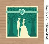 wedding invitation with bride... | Shutterstock .eps vector #492713941