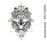 detailed wolf in aztec style.... | Shutterstock . vector #492718351