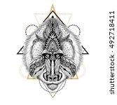 detailed baboon in aztec style. ... | Shutterstock . vector #492718411