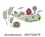 farm linear art concept with... | Shutterstock .eps vector #492720679
