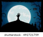 halloween background with... | Shutterstock . vector #492721759